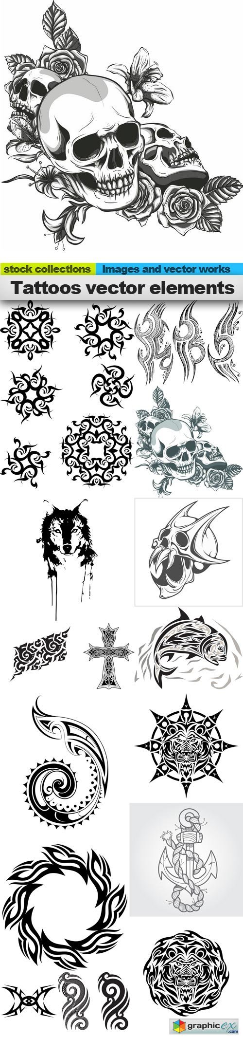 Tattoos vector elements, 15 x EPS