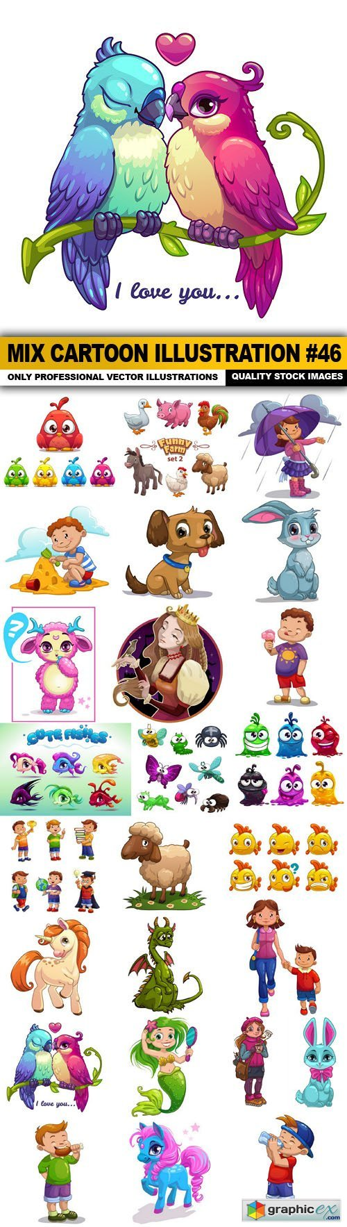 Mix cartoon Illustration #46 - 25 Vector