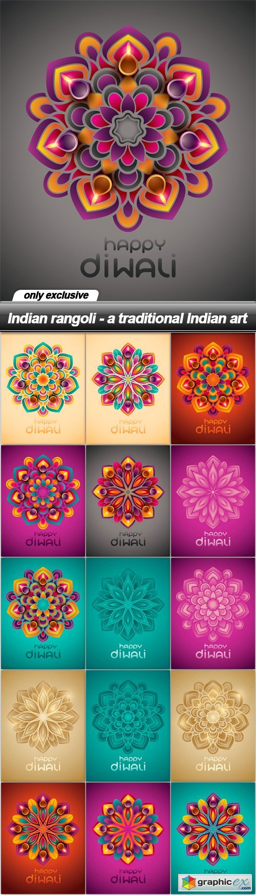 Indian rangoli - a traditional Indian art - 16 EPS