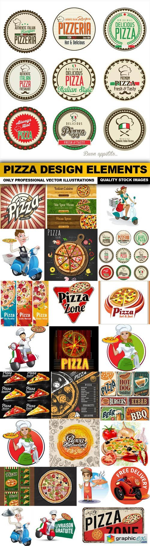 Pizza Design Elements - 25 Vector