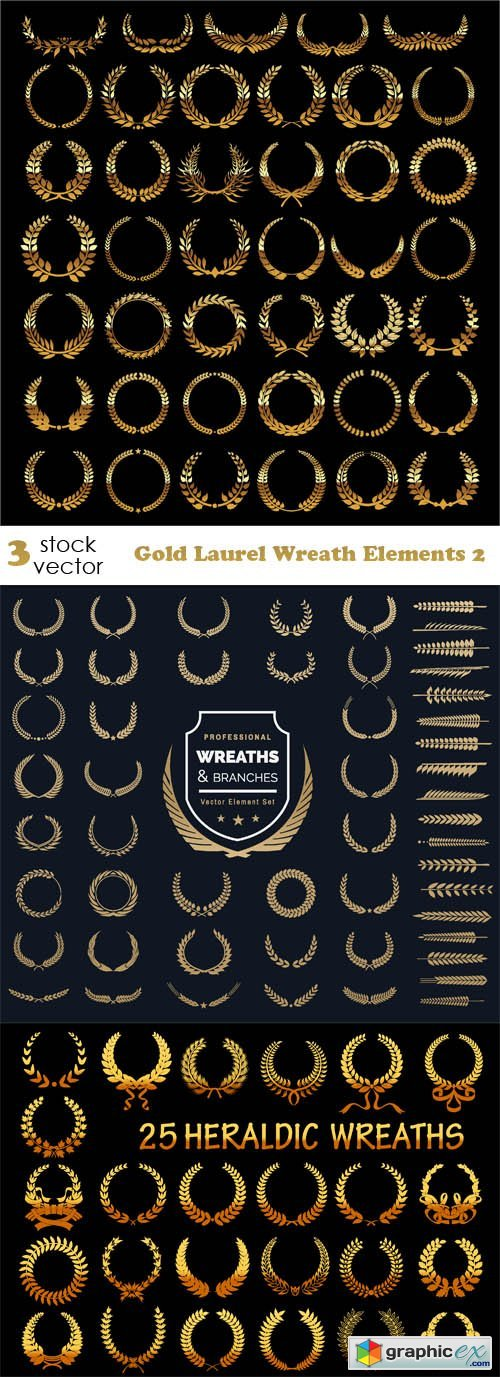 Gold Laurel Wreath Elements 2