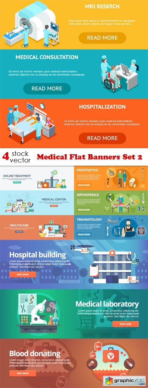Medical Flat Banners Set 2