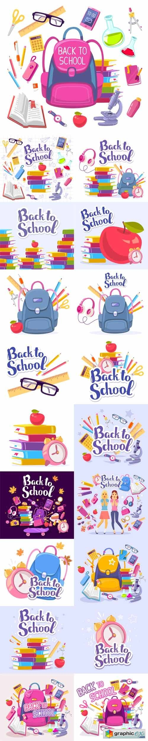 Colorful Illustration of Inscription Back to School