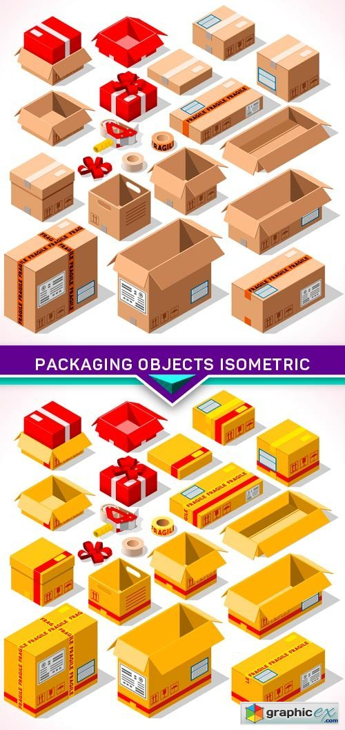 Packaging Objects Isometric 2X EPS