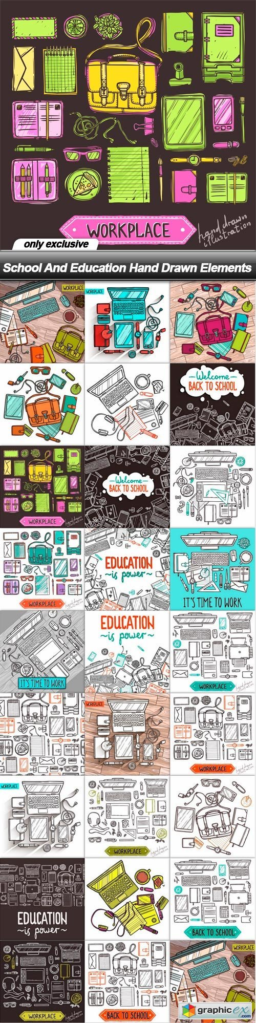 School And Education Hand Drawn Elements - 26 EPS