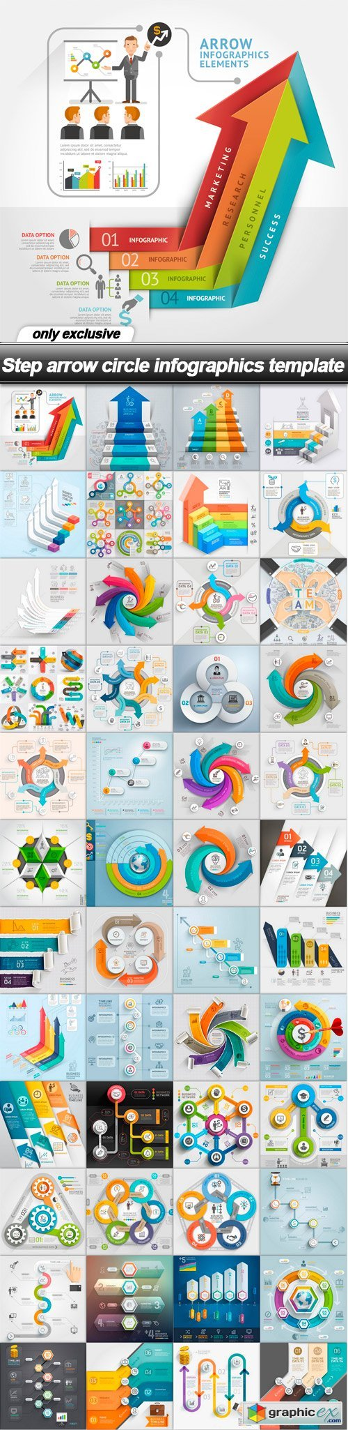 Step arrow circle infographics template - 48 EPS