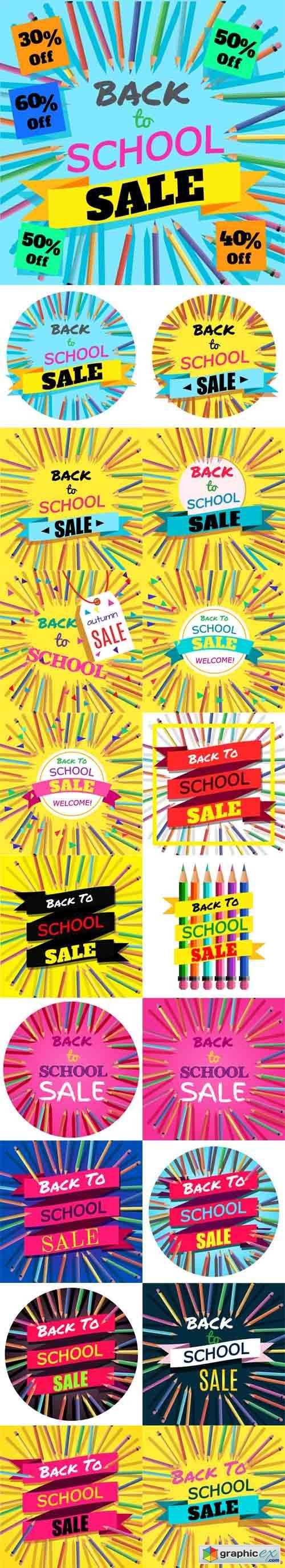 Back To School Sale. Background with Colorful Pencils with Header