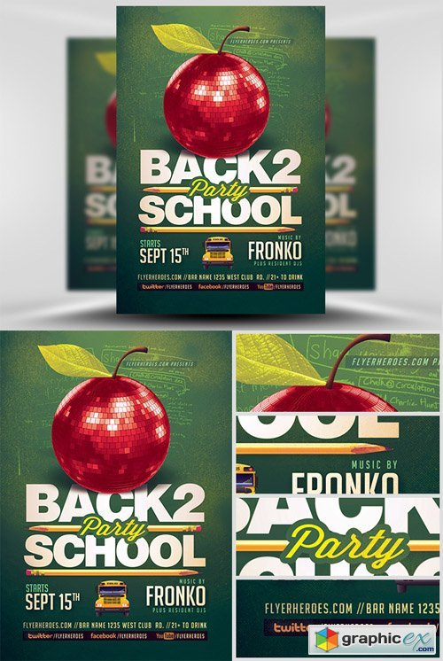 Back To School Party Flyer Template 6