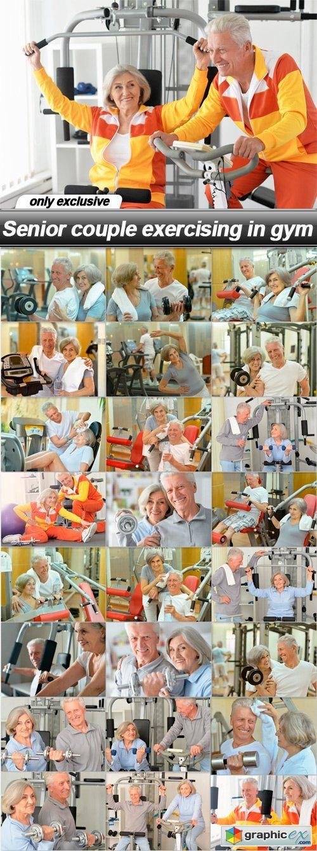 Senior couple exercising in gym - 25 UHQ JPEG