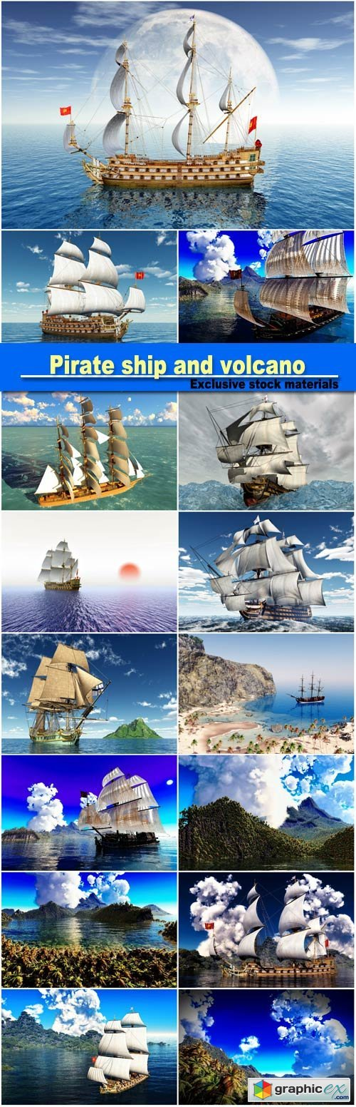 Pirate ship and active volcano in 3d illustration