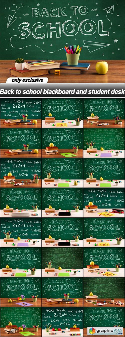 Back to school blackboard and student desk - 25 UHQ JPEG