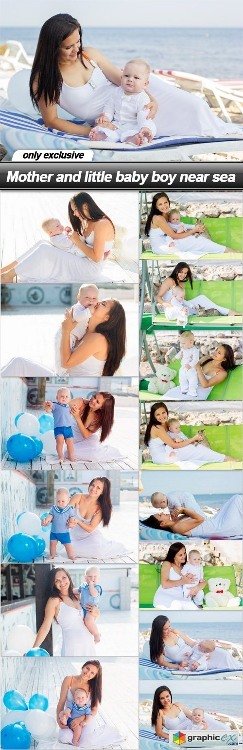 Mother and little baby boy near sea - 15 UHQ JPEG