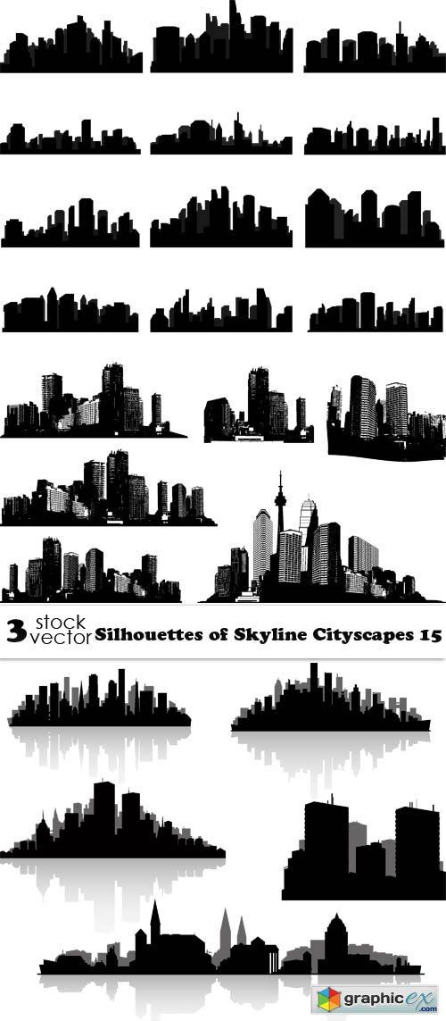Silhouettes of Skyline Cityscapes 15
