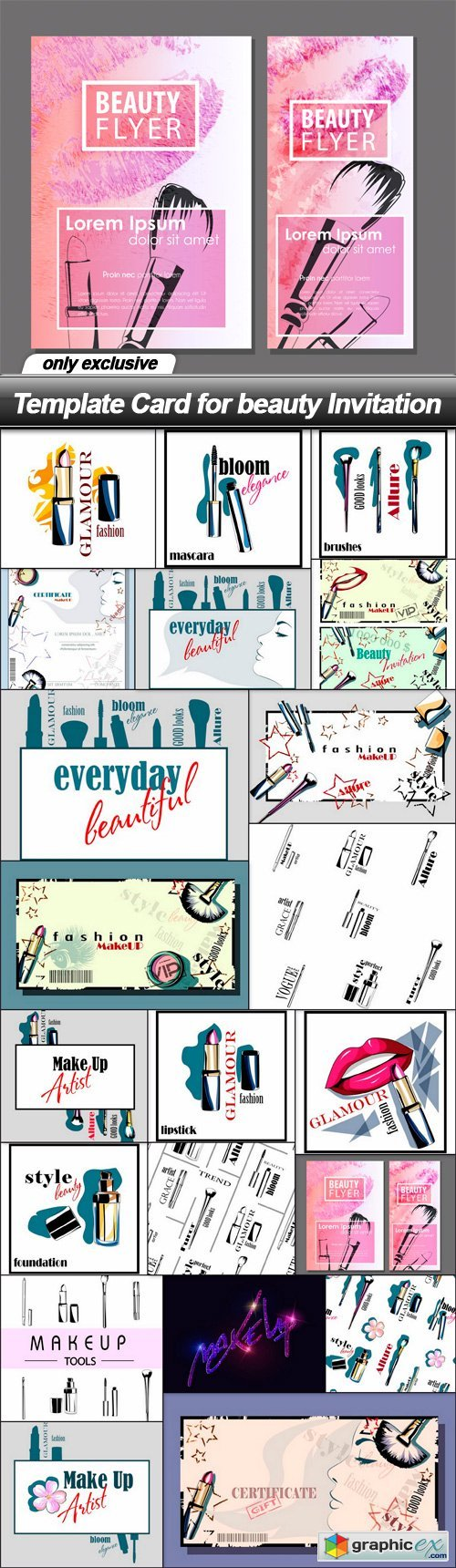 Template Card for beauty Invitation - 21 EPS