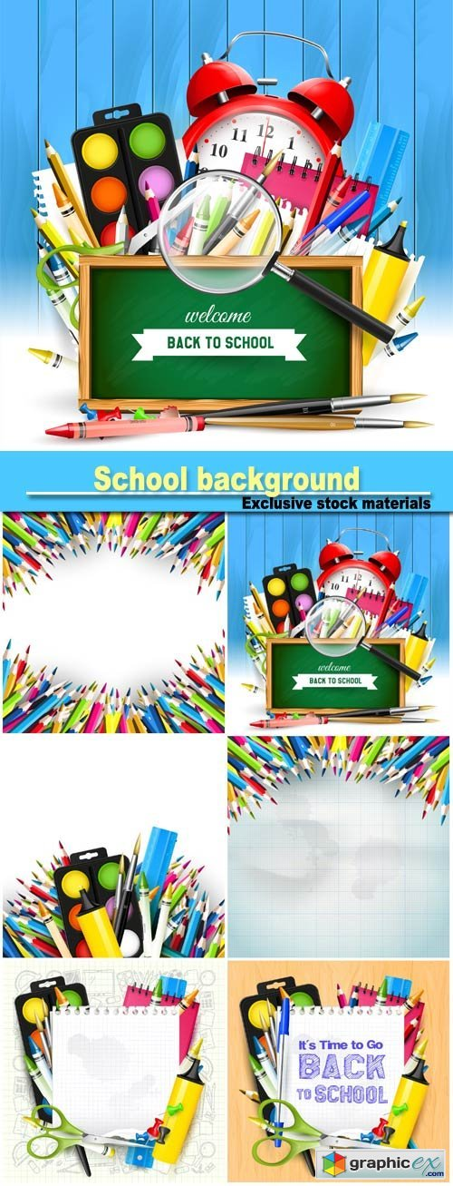 School background with school supplies