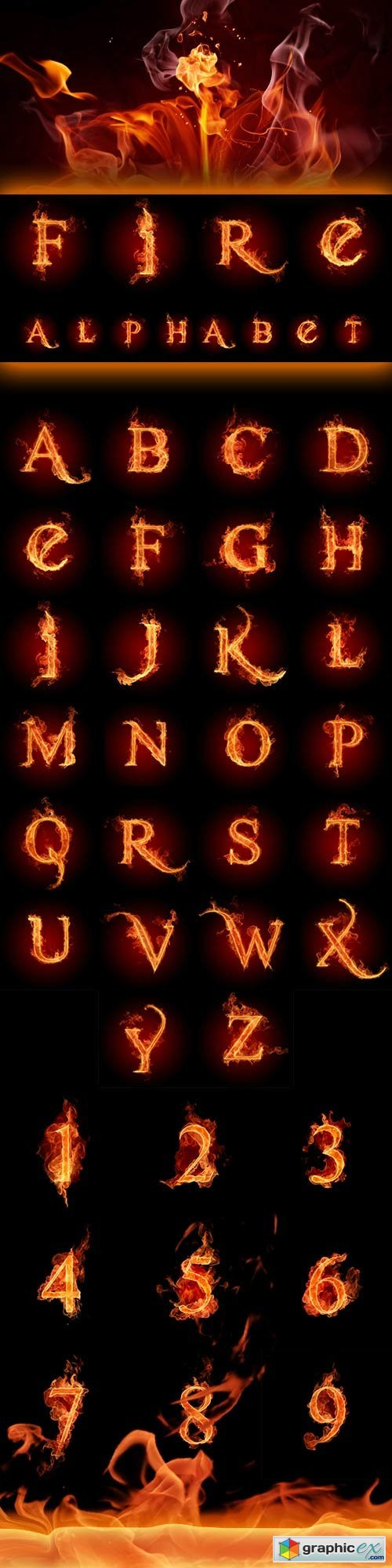 The alphabet of fire JPEG + PSD » Free Download Vector Stock Image