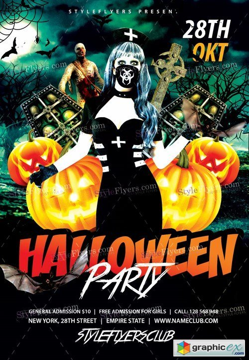 Halloween Party PSD Flyer Template + Facebook Cover