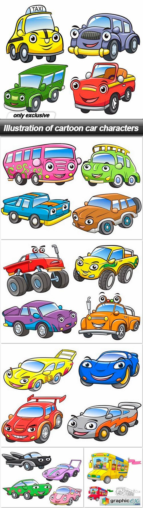Illustration of cartoon car characters - 6 EPS