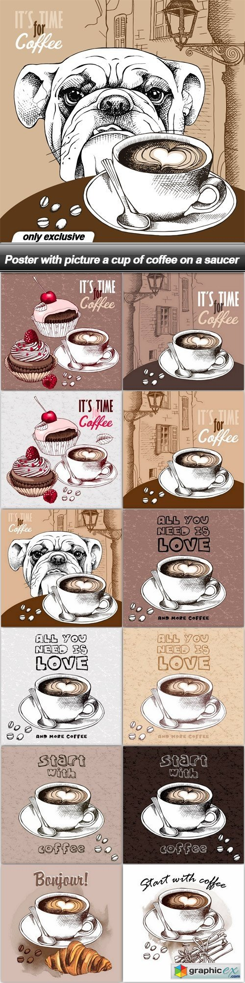 Poster with picture a cup of coffee on a saucer - 12 EPS