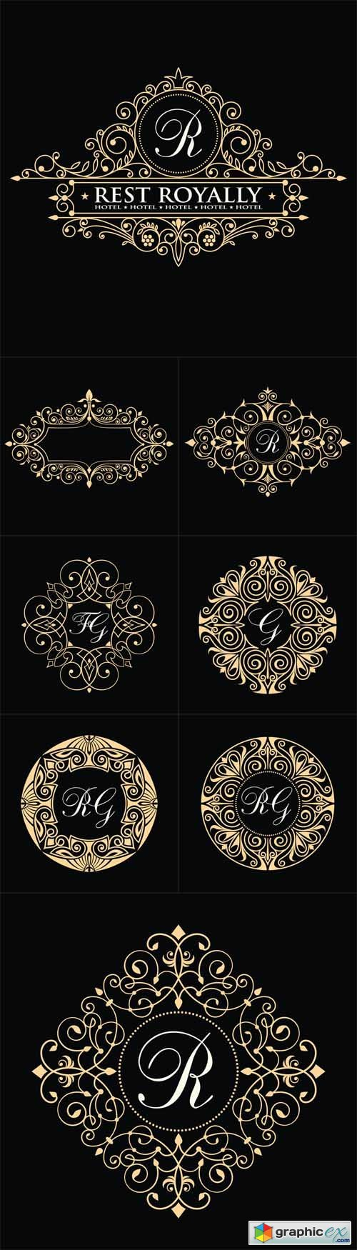 Vintage luxury emblem. Business sign, monogram identity for Restaurant, Hotel, Cafe