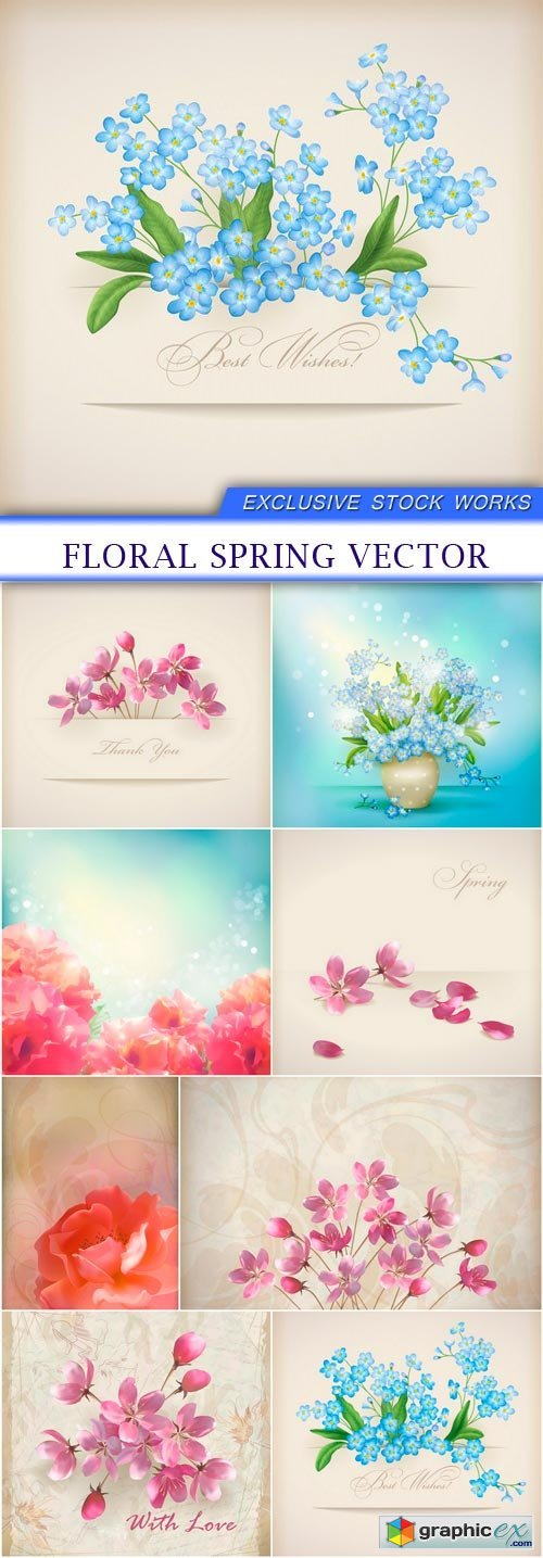 Floral spring vector 8x EPS