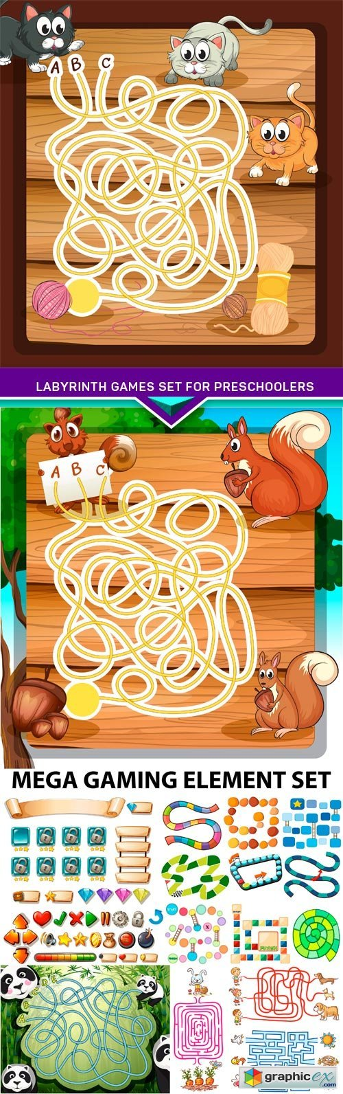 Labyrinth games set for preschoolers 5X EPS