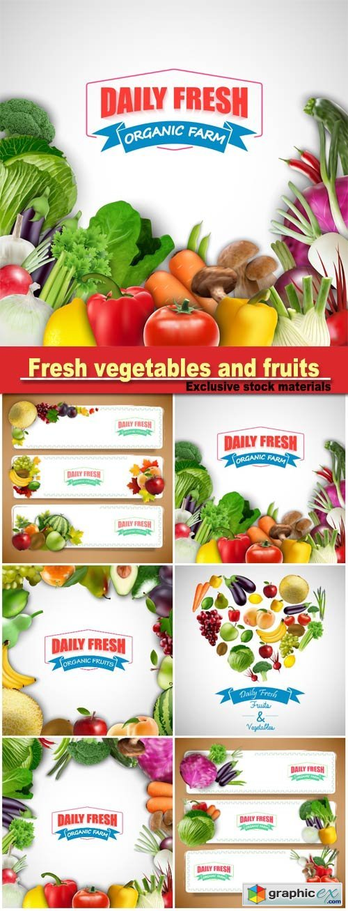 Fresh Vegetables And Fruits Backgrounds And Banners Vector