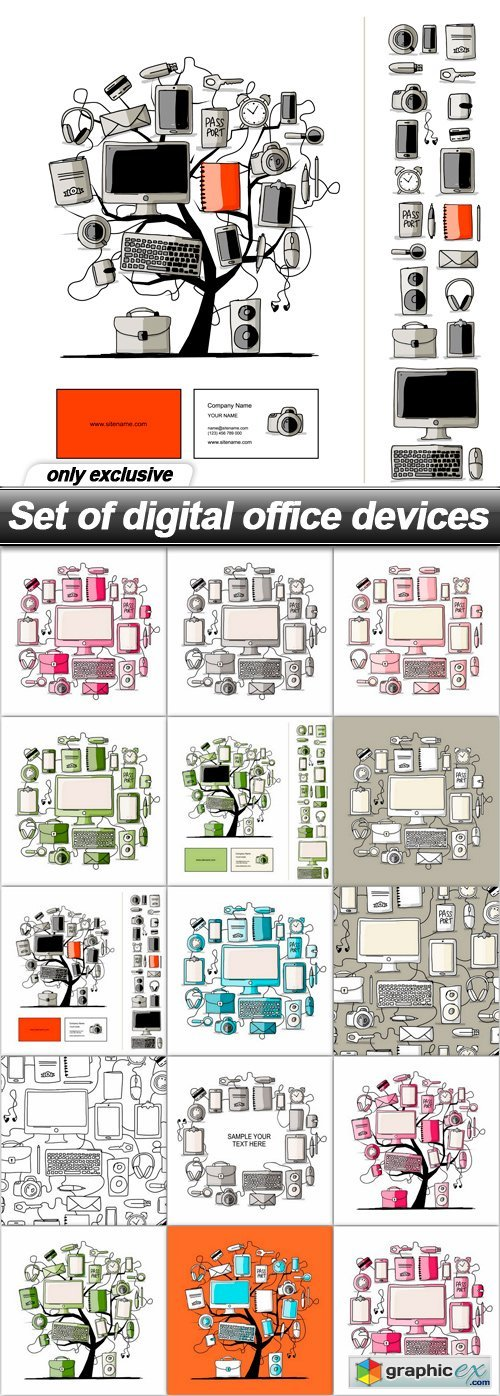 Set of digital office devices - 14 EPS