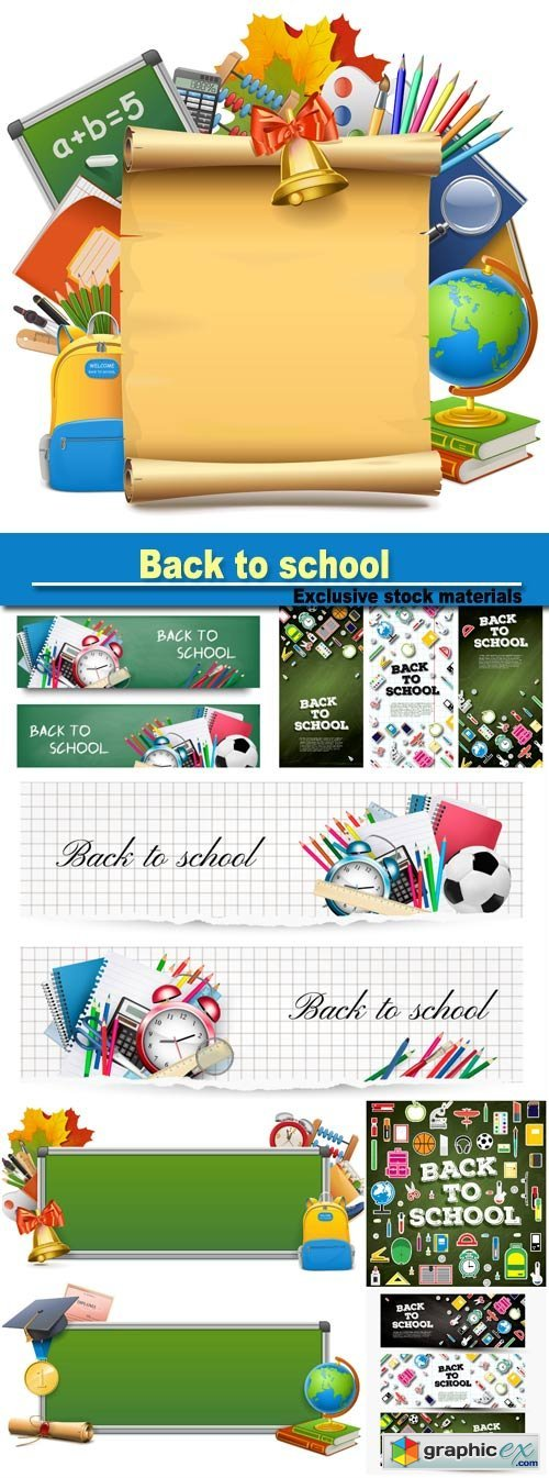 Back to school, vector school supplies