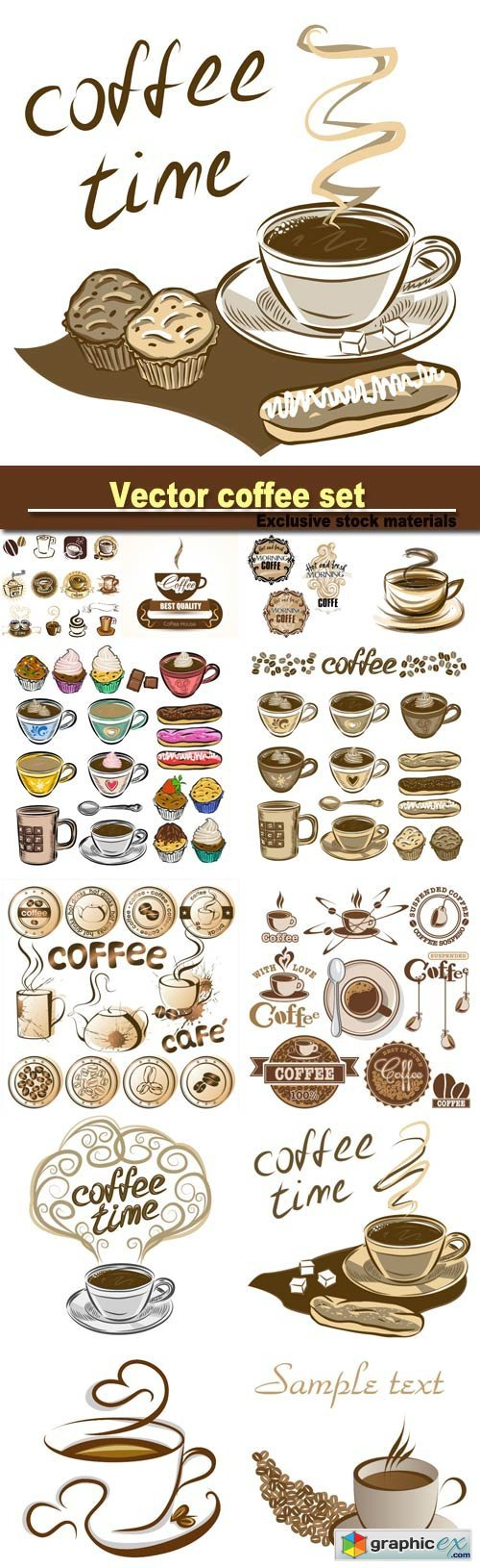 Hand drawn vector coffee set, coffee cups and cakes