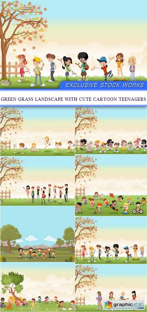 Green grass landscape with cute cartoon teenagers 8X EPS