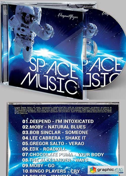 Space Music CD Cover PSD Template