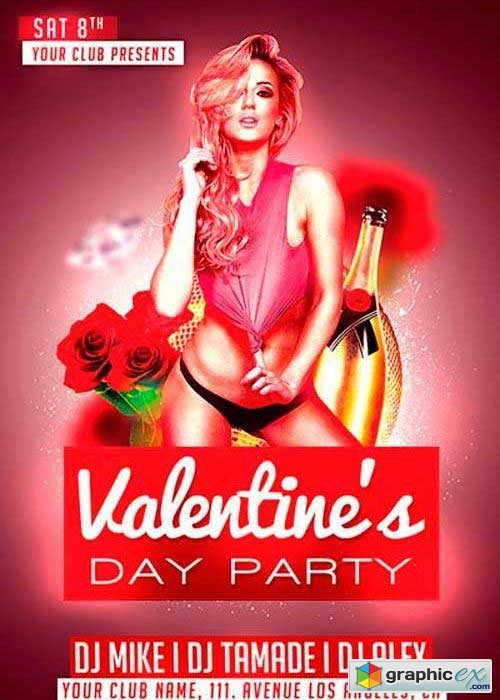 Valentines Day V9 Club Flyer Template
