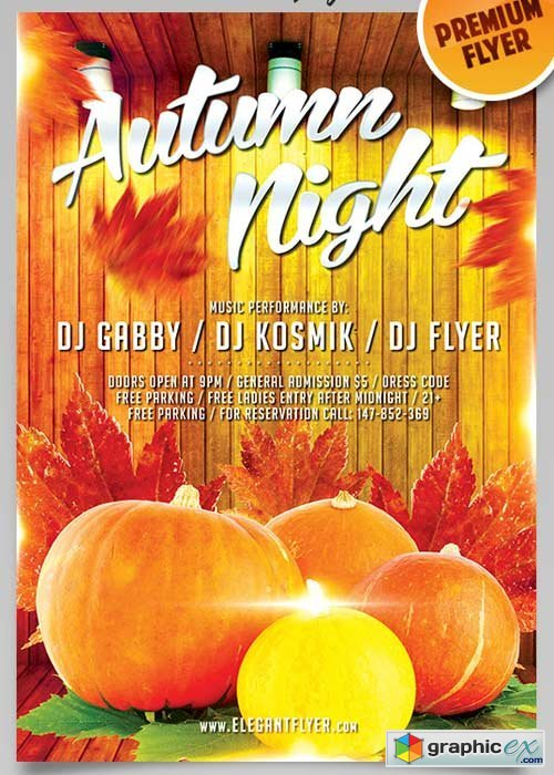 Autumn Night V3 Flyer PSD Template + Facebook Cover