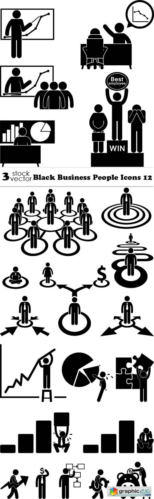 Black Business People Icons 12