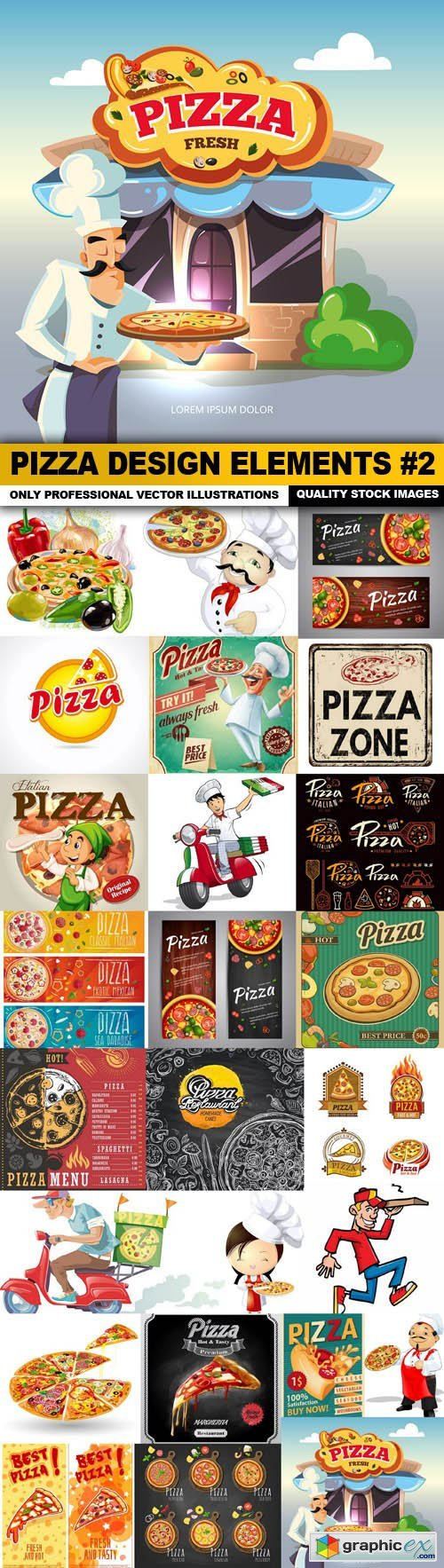 Pizza Design Elements #2 - 25 Vector