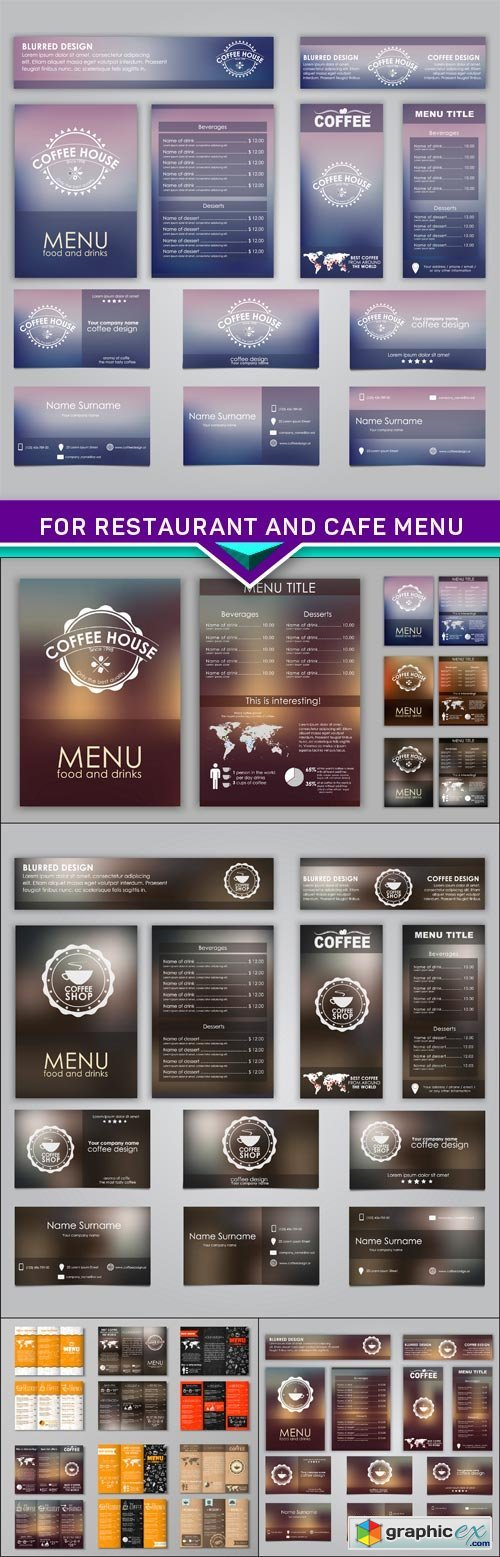 Set of corporate identity for restaurant and cafe menu 5X EPS