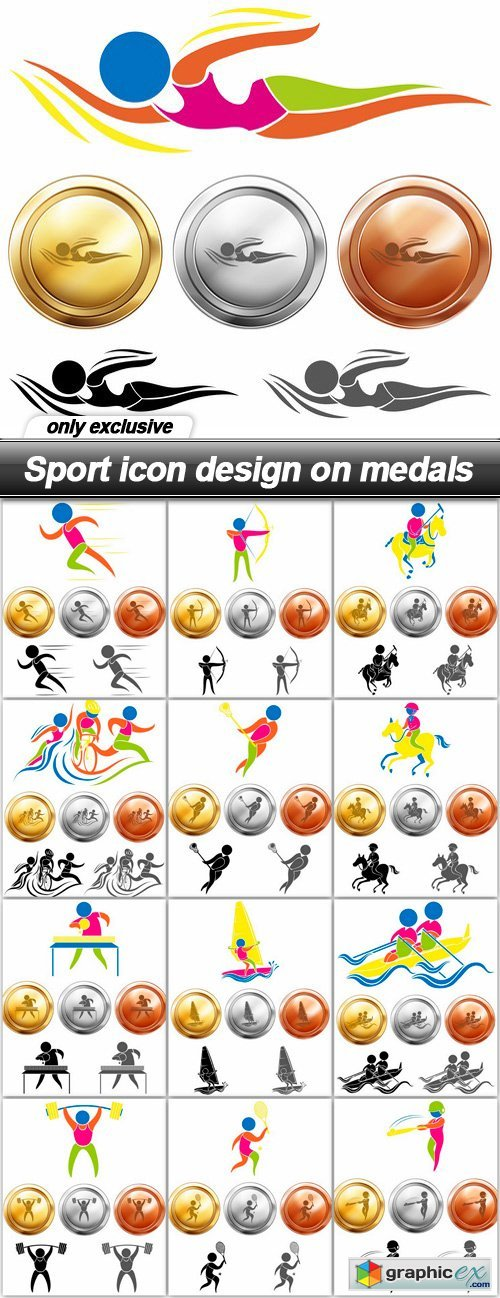 Sport icon design on medals - 13 EPS