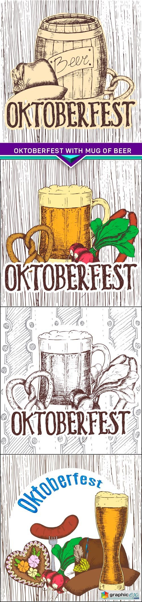 Oktoberfest with mug of beer 4X EPS