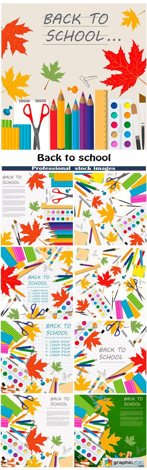 Back to school. Stationary graphic template