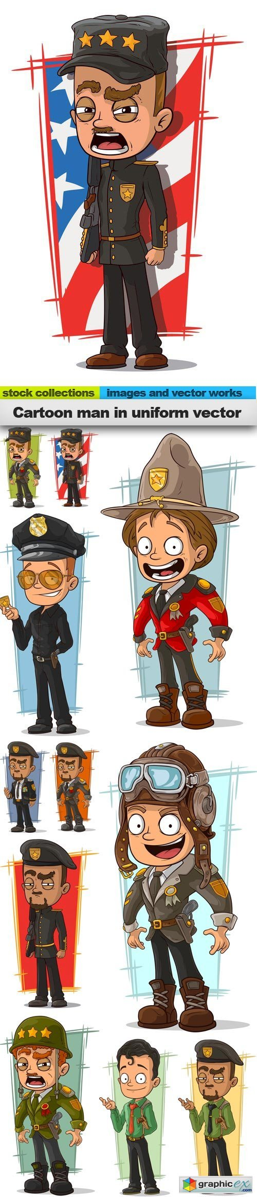 Cartoon man in uniform vector, 11 x EPS