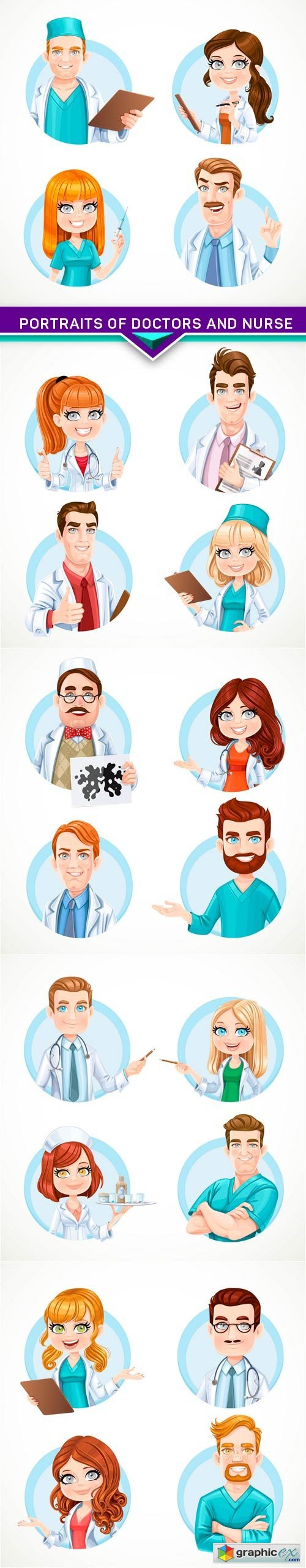 Portraits of doctors and nurse 5X EPS