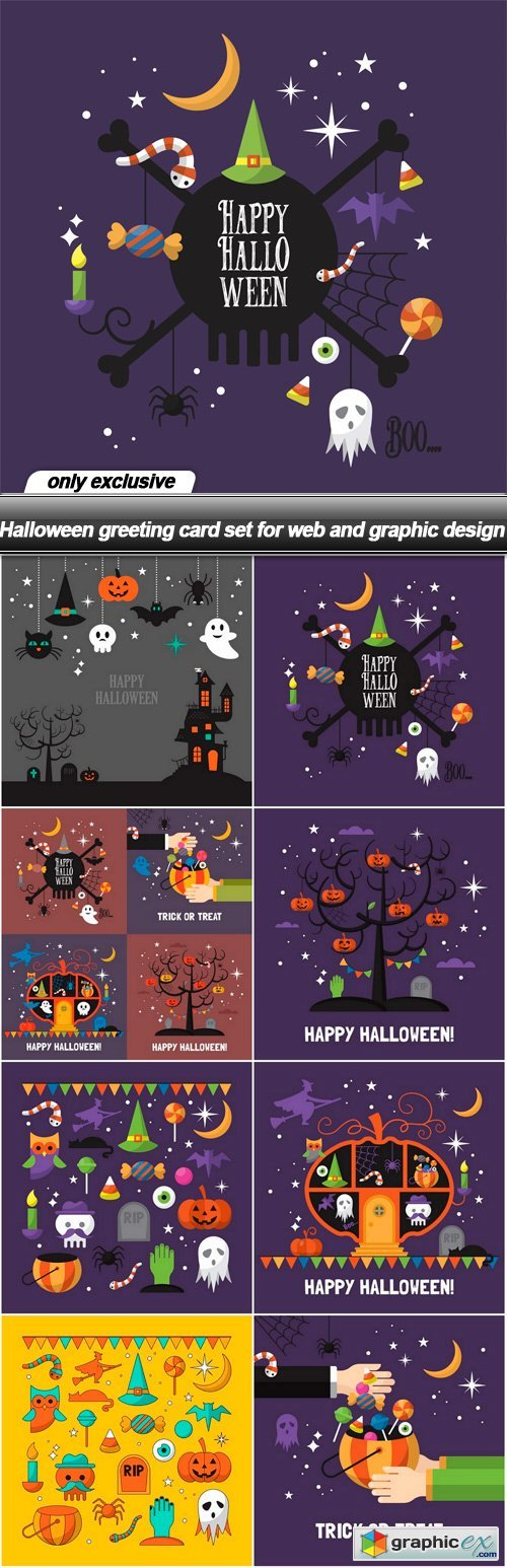 Halloween greeting card set for web and graphic design - 8 EPS
