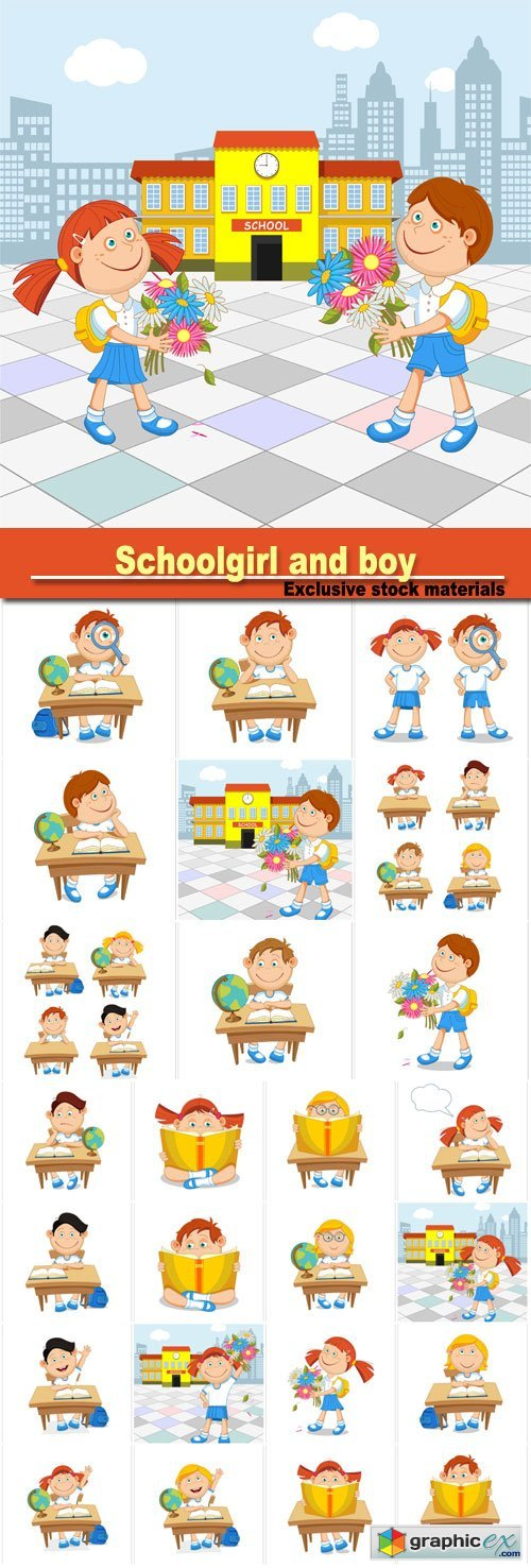 Schoolgirl and boy student with a bouquet in hand, go to school, vector illustration