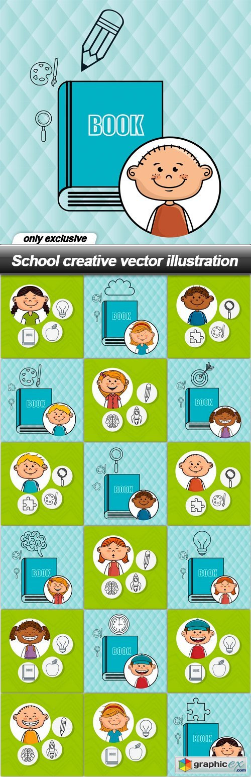School creative vector illustration - 19 EPS