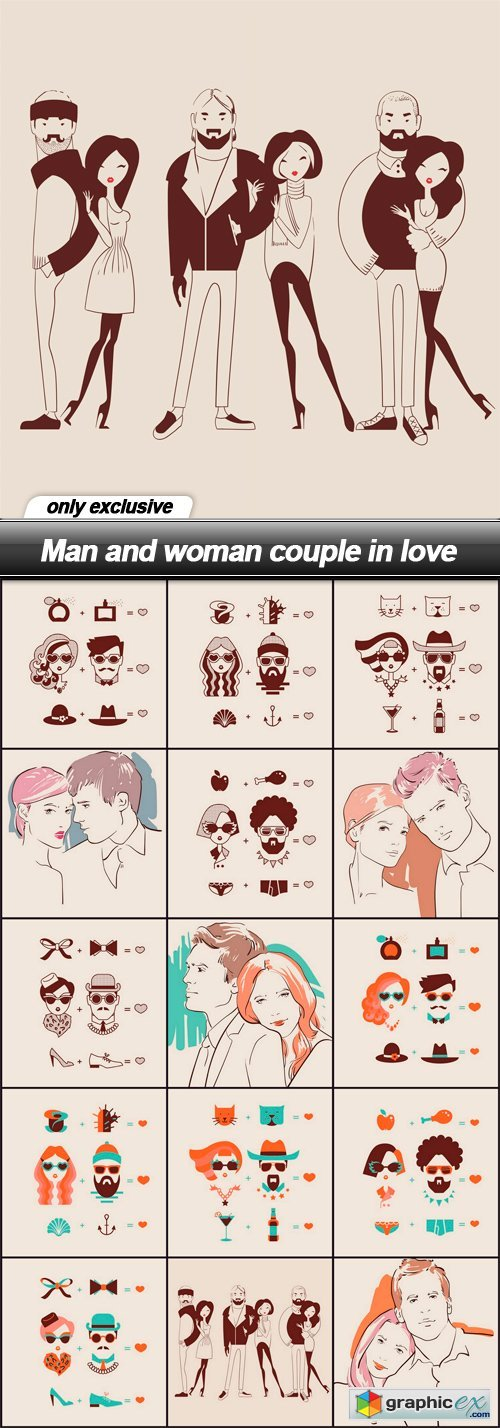 Man and woman couple in love - 15 EPS