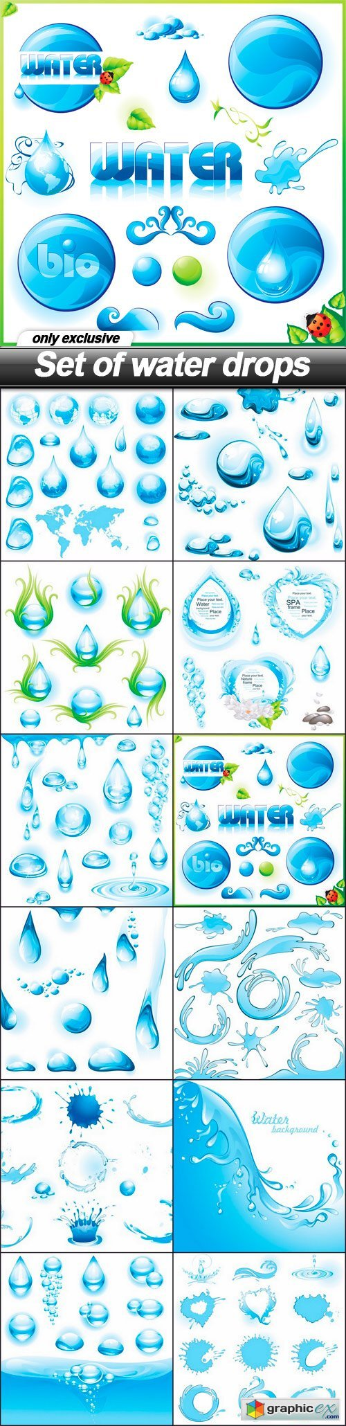 Set of water drops - 12 EPS