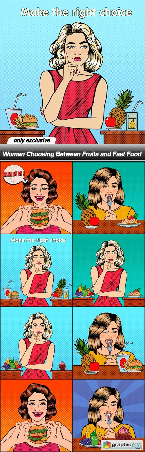 Woman Choosing Between Fruits and Fast Food - 8 EPS