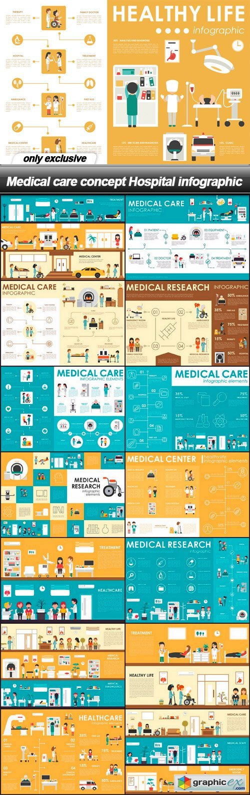 Medical care concept Hospital infographic - 15 EPS