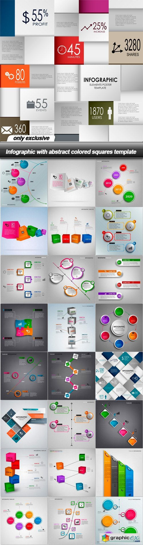 Infographic with abstract colored squares template - 25 EPS